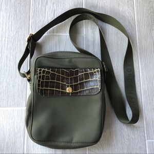 Longchamp green crossbody crocodile embossed